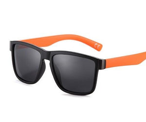 Black Lens, Black framed sunglasses with orangelegs