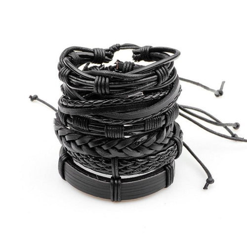 Black multilayer PU leather bracelet that can be worn individually or stacked together