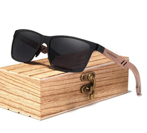 Black Polarized UV400 Square Wayfarer Sunglasses With Wooden Arms