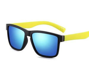 Blue Lens, Black framed sunglasses with yellow legs