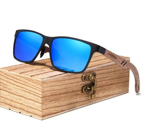 Blue Polarized UV400 Square Wayfarer Sunglasses With Wooden Arms