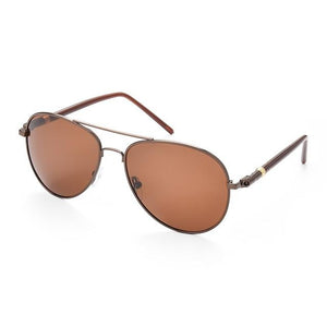Polarized oversized aviator sunglasses with brown frame