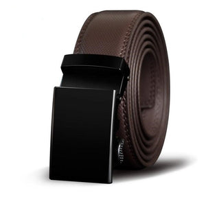 Brown leather belt with black flush buckle