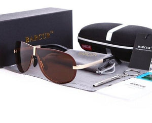 Brown lens polarized oversized retro rimless aviator sunglasses
