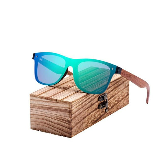 Flush green lens sunglasses with wooden arms