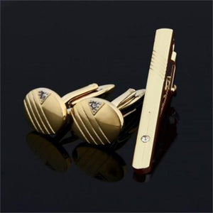 Gold Coloured Tie Pin and Cufflinks Set