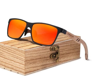 Orange/Red Polarized UV400 Square Wayfarer Sunglasses With Wooden Arms