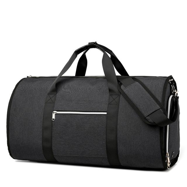A very clever large capacity garment travel bag and suit carrier that unfolds and allows you to pack your suit around your clothes and items. The bag unzips to allow you to lay it out flat. Once flat insert the suit in its concealed compartment and roll it round your clothes and shoes.