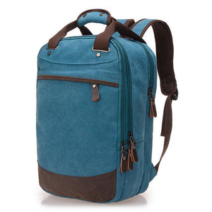 "A light blue casual canvas backpack perfect for overnight trips that fits laptops up to 15.5"" screens,  Perfect for airline carry on luggage."