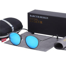 Load image into Gallery viewer, Vintage steampunk style round sunglasses with matte black frame and polarized blue lenses
