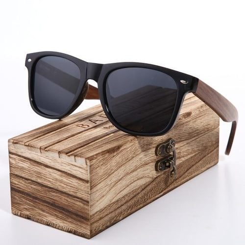 Polarized Wayfarer Sunglasses Black Lens With Walnut Legs