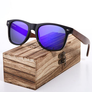 Polarized Wayfarer Sunglasses Dark Blue Lens With Walnut Legs