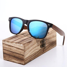 Laden Sie das Bild in den Galerie-Viewer, Polarized Wayfarer Sunglasses Light Blue Lens With Walnut Legs