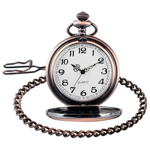 Rose gold classic pocket watch with 30cm chain