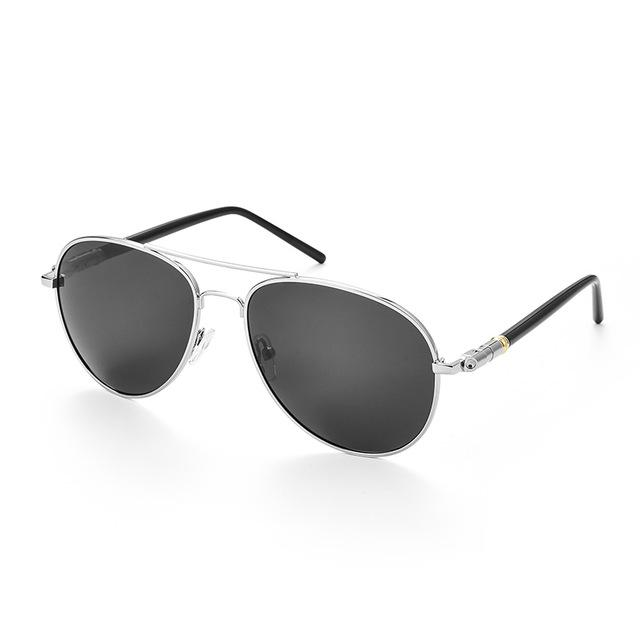 Polarized oversized aviator sunglasses with silver frame