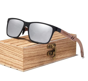 Silver Polarized UV400 Square Wayfarer Sunglasses With Wooden Arms