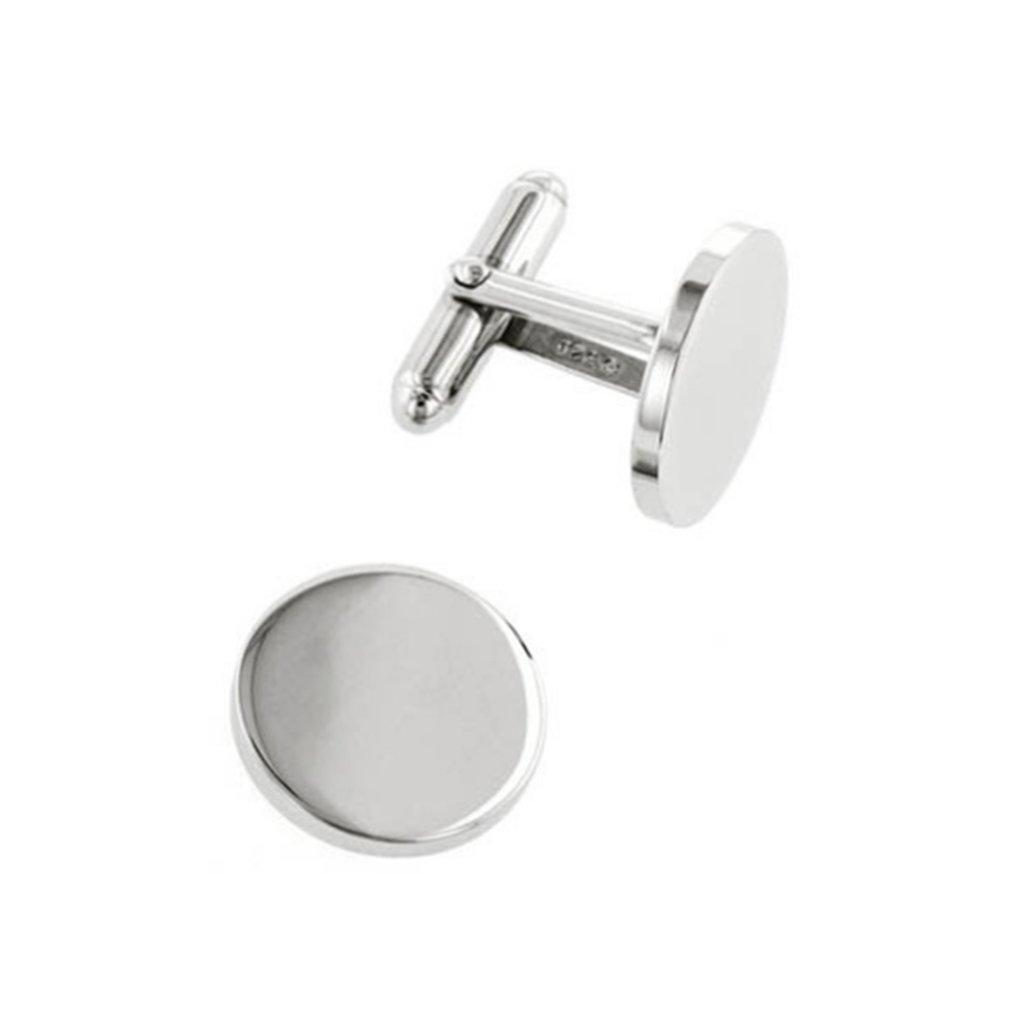 Simple silver coloured round cufflinks