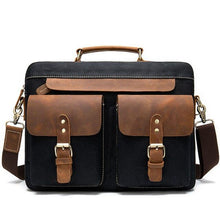 "Load image into Gallery viewer, A briefcase style messenger bag with a sturdy handle and detachable, adjustable shoulder strap.  Two press stud sealed pockets on the front exterior and a zipper pocket on the back gives further storage options.  Internal storage includes a dedicated pocket for a 14"" laptop, a main compartment and a separate zip pocket"