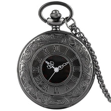 Load image into Gallery viewer, Black steampunk pocket watch with 80cm chain