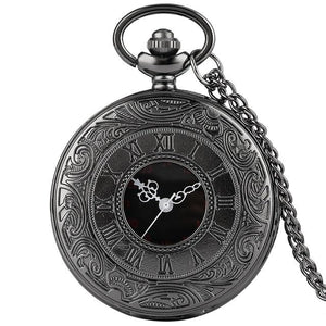 Black steampunk pocket watch with 80cm chain