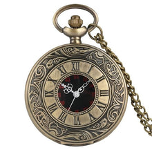 Load image into Gallery viewer, Bronze steampunk pocket watch with 80cm chain