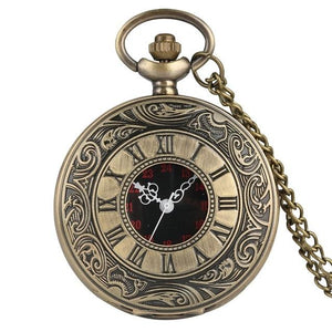 Bronze steampunk pocket watch with 80cm chain