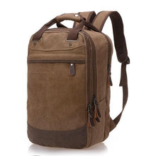 "Load image into Gallery viewer, A brown casual canvas backpack perfect for overnight trips that fits laptops up to 15.5"" screens,  Perfect for airline carry on luggage."