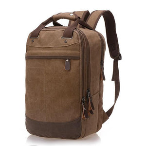 "A brown casual canvas backpack perfect for overnight trips that fits laptops up to 15.5"" screens,  Perfect for airline carry on luggage."
