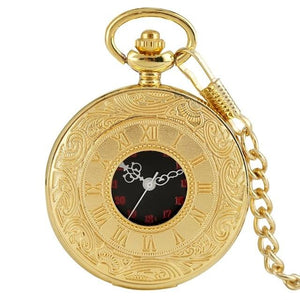 Gold steampunk pocket watch with 30 cm chain