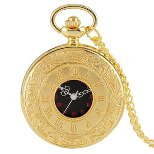 Gold steampunk pocket watch with 80cm chain