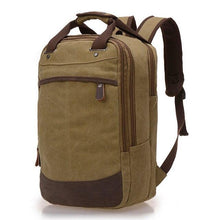 "Load image into Gallery viewer, A khaki coloured casual canvas backpack perfect for overnight trips that fits laptops up to 15.5"" screens,  Perfect for airline carry on luggage."
