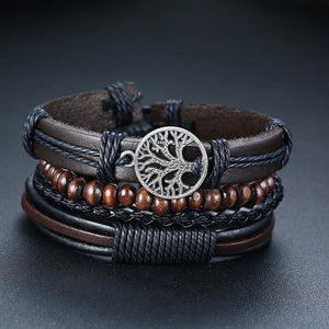 Chuncky leather bracelets with metal tree symbol