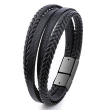 Load image into Gallery viewer, Braided Leather Bracelet Black/Brown
