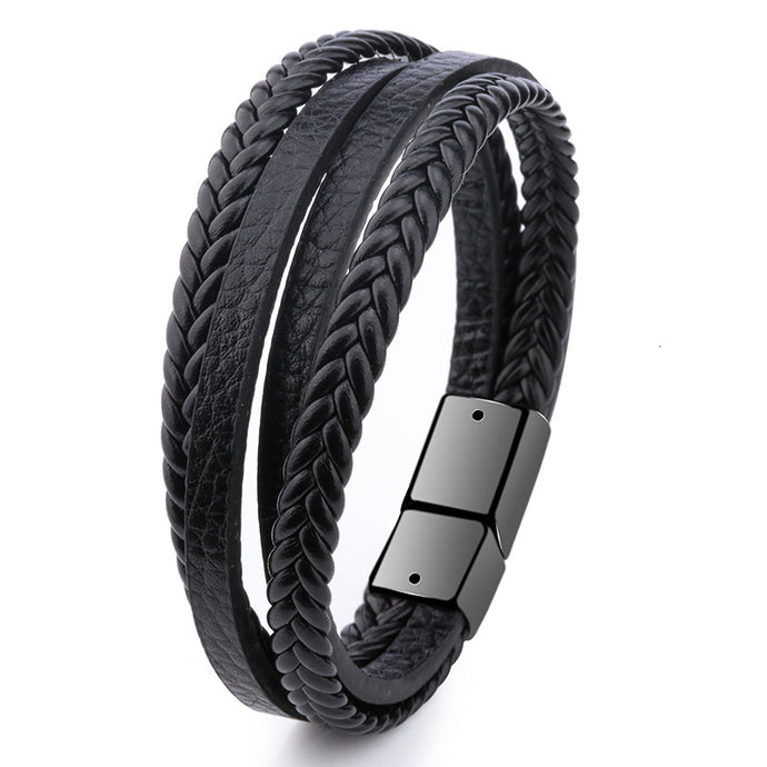 Braided Leather Bracelet Black/Brown