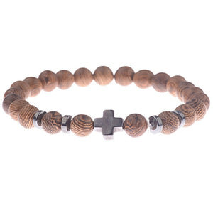8mm Natural Wood Beads Bracelet