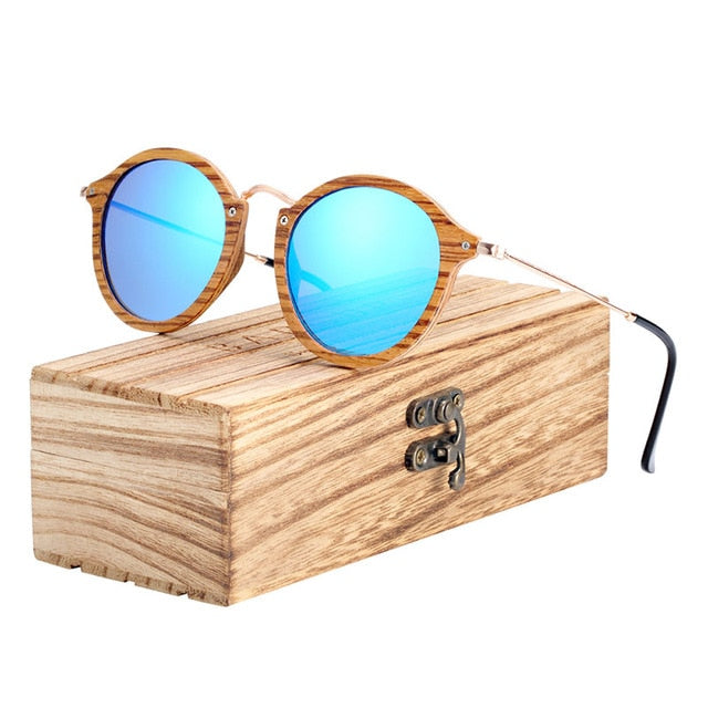 BARCUR Zebra Wood Sunglasses Handmade Round Sunglasses Men Polarized Eyewear with Box Free