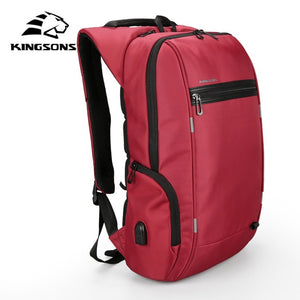 "Kingsons 15"" or 17""  Laptop Backpack External USB Charge Computer Backpack"