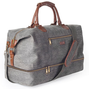 Mealivos Canvas Weekender Duffle Bag with Shoe compartment