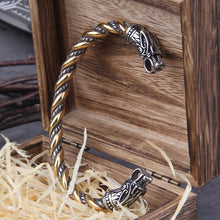 Load image into Gallery viewer, Stainless Steel Nordic Viking Norse Dragon Bracelet Men Wristband Cuff Bracelets with Viking Wooden Box