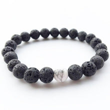 Load image into Gallery viewer, Volcanic Lava Stone Bracelet With White Marble Centrepiece
