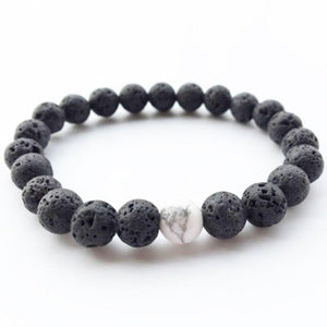 Volcanic Lava Stone Bracelet With White Marble Centrepiece