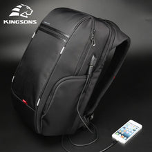 "Load image into Gallery viewer, Kingsons 15"" or 17""  Laptop Backpack External USB Charge Computer Backpack"