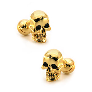 Men's Luxury Vintage Cufflinks Golden Color Skull Design Cuff Links Free Shipping