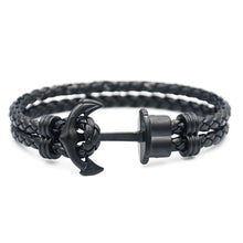 Load image into Gallery viewer, Men Anchor Bracelet  Made of Nylon in Navy Blue und Anchor Made of Brass