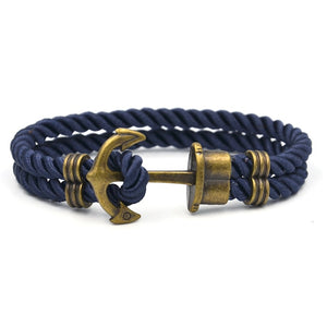 Men Anchor Bracelet  Made of Nylon in Navy Blue und Anchor Made of Brass