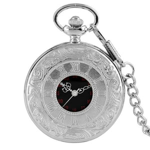 Silver steampunk pocket watch with 30cm chain