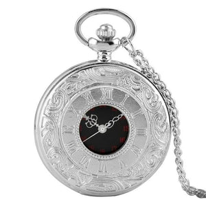 Sliver steampunk pocket watch with 80cm chain.