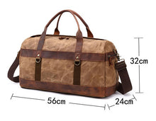 Load image into Gallery viewer, External dimensions of the canvas duffel bag are 56cm x 24cm x 32cm