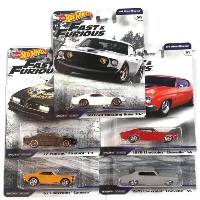 Fast & Furious Cars Complete Set of 5-Vehicles-Hot Wheels-Toycra