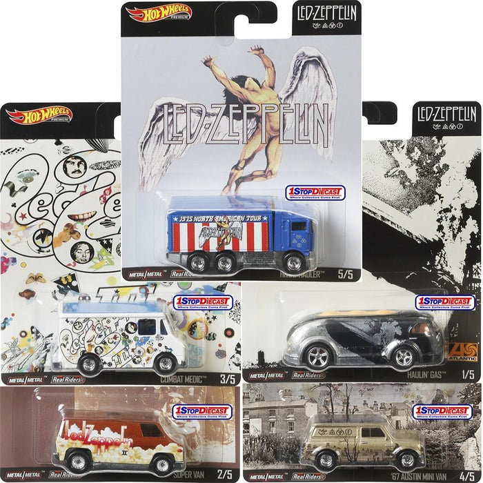 Hot Wheels Pop Culture LED Zeppelin Complete Set of (5)-Vehicles-Hot Wheels-Toycra